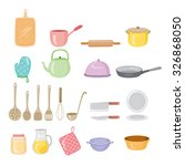 Kitchen Equipment Icons Set, Ware, Crockery, Cooking, Food, Bakery, Lifestyle - stock vector