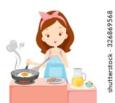 girl cooking fried egg for... | Shutterstock .eps vector #326869568