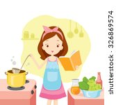 Girl Cooking Soup With Cookboo...