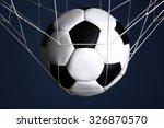 soccer ball in the net on blue... | Shutterstock . vector #326870570
