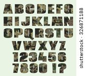 camouflage font and numbers....   Shutterstock .eps vector #326871188