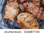 chicken and pork grilled on... | Shutterstock . vector #326887730