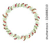 round christmas wreath with... | Shutterstock .eps vector #326888210