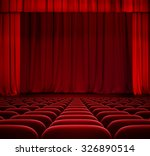 Red Curtain On Theater Stage...