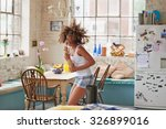 happy curly haired  girl... | Shutterstock . vector #326899016