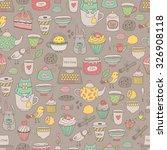 cute cartoon tea party seamless ... | Shutterstock .eps vector #326908118