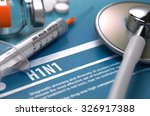 h1n1   medical concept on blue... | Shutterstock . vector #326917388