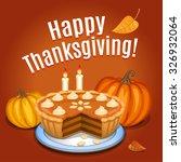 pumpkin pie with white creme... | Shutterstock .eps vector #326932064