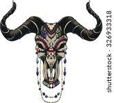 bull skull with traditional... | Shutterstock .eps vector #326933318