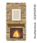 stone veneer fireplace with a... | Shutterstock .eps vector #326933930