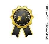 thumbs up golden vector icon...   Shutterstock .eps vector #326953388