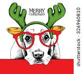 christmas poster of a dog... | Shutterstock .eps vector #326960810