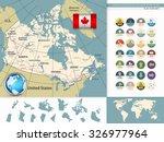 canada detailed map retro... | Shutterstock .eps vector #326977964