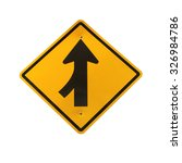 lanes merging left traffic sign | Shutterstock . vector #326984786
