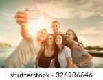 selfie of grop happiness... | Shutterstock . vector #326986646