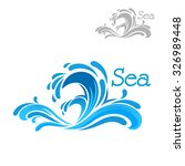 Cartoon Blue Sea Wave Splash O...