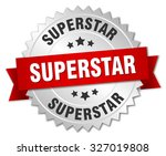 superstar 3d silver badge with... | Shutterstock .eps vector #327019808