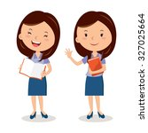 cheerful teacher with book.... | Shutterstock .eps vector #327025664