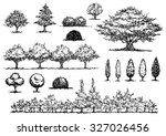 set of free hand drawing trees  ...