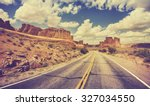 vintage retro stylized scenic... | Shutterstock . vector #327034550