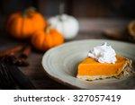 pumpkin pie on rustic wooden... | Shutterstock . vector #327057419