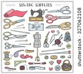 sewing and needlework doodle... | Shutterstock .eps vector #327062108