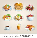 set of food for breakfast... | Shutterstock .eps vector #327074810