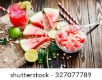 salad with watermelon and feta... | Shutterstock . vector #327077789