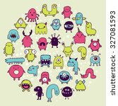 set of hand drawn monster... | Shutterstock .eps vector #327081593