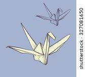 vector sketch of paper crane | Shutterstock .eps vector #327081650