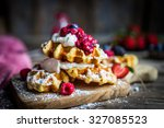 belgian waffles with fresh... | Shutterstock . vector #327085523