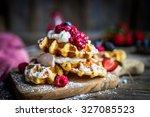 belgian waffles with fresh...   Shutterstock . vector #327085523