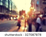 people in bokeh  street of... | Shutterstock . vector #327087878