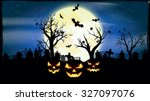 halloween night  vector... | Shutterstock .eps vector #327097076