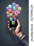 smart phone with color icons... | Shutterstock . vector #327098129