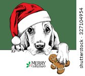 Christmas Card. Dog Basset...