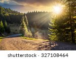 Empty gravel mountain road near the coniferous forest with cloudy sky in morning light - stock photo