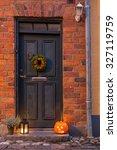 Traditional Door With Halloween ...