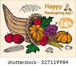 thanksgiving set | Shutterstock .eps vector #327119984