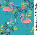 exotic flamingo patter ... | Shutterstock .eps vector #327121814