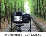 Abstract Dslr Camera On Railwa...