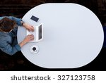 grey office round table and man ... | Shutterstock . vector #327123758