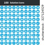 solution 100 icons universal... | Shutterstock .eps vector #327124529