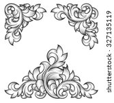 baroque leaf frame elements | Shutterstock . vector #327135119
