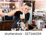 barista preparing drip coffee... | Shutterstock . vector #327166334