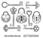 hand drawn vintage key and lock ... | Shutterstock .eps vector #327183560