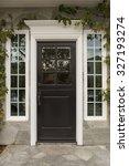 front door of dark brown wooden ... | Shutterstock . vector #327193274