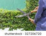 close up gardener cutting a... | Shutterstock . vector #327206720