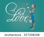 the girl wrote the word love on ... | Shutterstock .eps vector #327208208