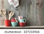 kitchen cooking utensils in... | Shutterstock . vector #327210566
